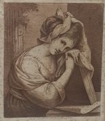 After Angelica Kauffmann Engraving Study of lady with a book, in margin A... Kauffman fec.. 1770 19