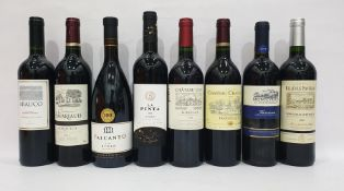 Eight bottles of mixed red wineto include Chateau Luby Bordeaux 2014 and Chateau Belle Vue Favereau