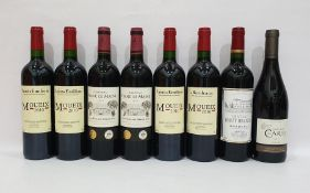 Eight bottles of mixed red wine to include four bottles of Saint-Emilion Moueix 2010 and two bottles