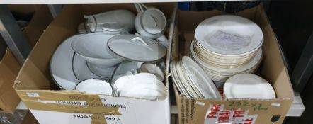 Three boxes ceramics to include: Kirsty Jane part dinner service with gold rim, Sengor fine china