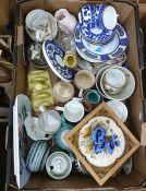 Collection of assorted ceramics in three boxes to include toast rack, framed tile, cakestand and