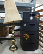 Modern leatherette bow-fronted drawer set and modern brass table lamp and shade