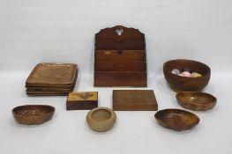 Large quantity of treenincluding carved salad bowls, wooden trays, letter rack, slide rule, fruit