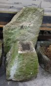 Staddle stone base, 50cm high and a large stone slab78 x 48cm