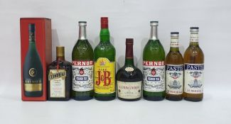 Eight bottles of assorted alcoholto include two Pernod Fils, two Pastis Aperitif, Justerini &