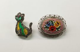 Marcasite and stained glass cat broochand an Italian pietre dura brooch, oval with rose design