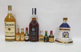 1997 Commemorative Bells whisky, a Patron Alonso brandy, a Teachers Highland Cream Scotch whisky and