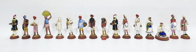 Set of 12 assorted hand painted Indian painted terracotta miniaturefigures