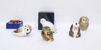 "Royal Crown Derby china paperweight ""Snowy Owl"", boxed, four other Royal Crown Derby china"