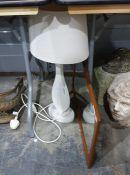 White freeform based table lamp and aScandinavian styleteak surround mirror(2)