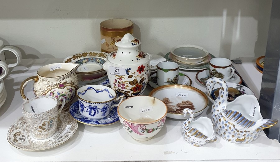 """Lot 21 - """"Floris"""" pattern china pot pourri vase and cover, urn shaped, Coalport china cabinet cup and"""