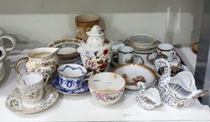 """Floris"" pattern china pot pourri vase and cover, urn shaped, Coalport china cabinet cup and"