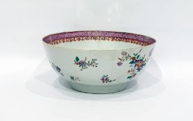 Chinese famille rose porcelain bowlwith floral decoration and lattice work to border, 23cm diameter