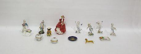 "Set of four German porcelain putti""The Seasons"", Royal Doulton porcelain figure ""Top O'the Hill"""