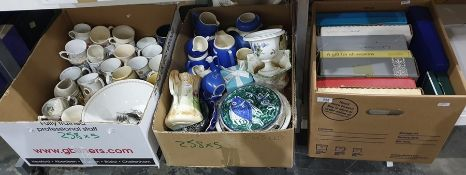 Five boxes of mixed china and glassware including boxed presentation plates, commemorative mugs,