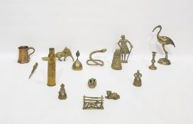 Large quantity of brass and metalware items including a model of a stork, a fox, a cobra,