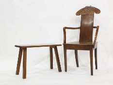 Early 20th century oak Arts & Crafts style armchairin the manner of William Morris, shaped top