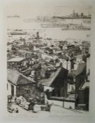 After G. Welland (?) Etching, 15/30 in pencil in the margin View of Gibralter with shipping in the