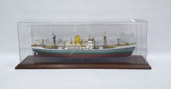 Model of SS Benvrackie Ben Line Steamers Limited, the perspex case measures 29cm x 63cm, with