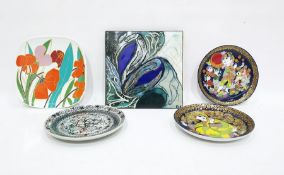 "Pair Rosenthal Bjorn Wiinblad wall plates ""Aladdin"" pattern, Bodil Eja decorated tile in shades of"