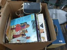 Box of vinyl LP's mainly Show Tunes and musical soundtracks plus a quantity of 45rpm's including The