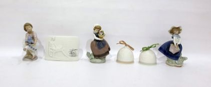 Three Lladro porcelain modelsof girls with flowers and teddy bear, variously, pair of Lladro tinted