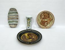 Continental majolica octagonal vase, trumpet shaped, stylised leaf decoration and three various