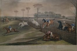 After F C Turner colour engravings Vale of Aylesbury Steeple Chase , 1 -4, 40 x 60 cms, framed ,