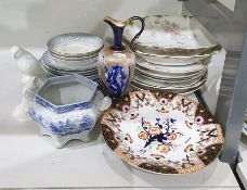 Limoges porcelain dessert service of 9 pieces, 19th century porcelain low tazza with Japan pattern
