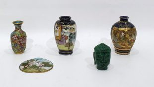 Two Japanese Satsuma miniature vases, a small cloisonne vaseand two other items (5)