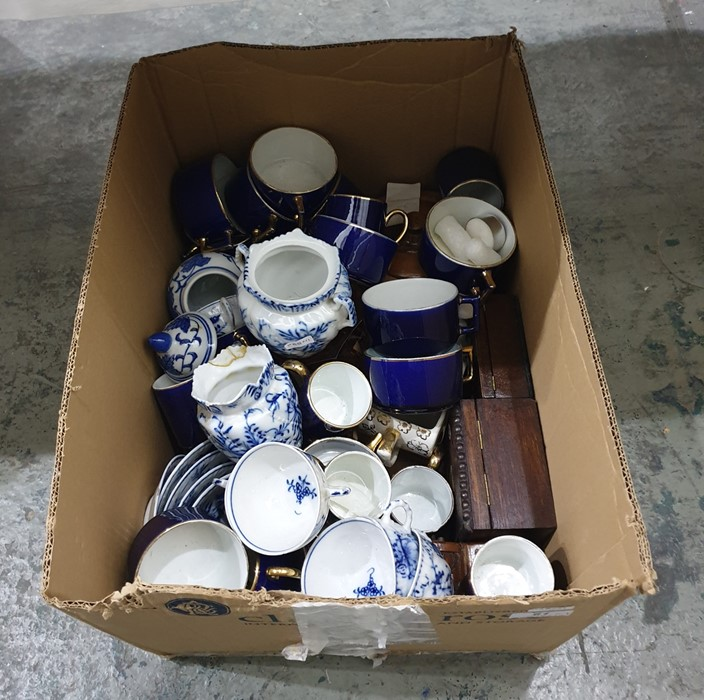 Lot 61 - Quantity of French royal blue and gilt bordered coffee cups, quantity of underglaze blue decorated