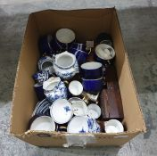 Quantity of French royal blue and gilt bordered coffee cups, quantity of underglaze blue decorated