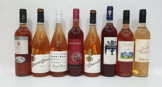 Eight bottles of assorted rose wine to include La Porte des Princes 2014 Grenache Syrah and