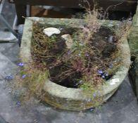 Two D-shaped stone planters, 53 x 60 x 20cm