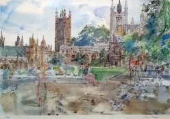 After John Ward Pair of limited edition colour prints Scenes of London, Westminster Abbey from