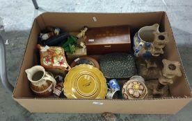 Wade Heath pottery teapot, Victorian stoneware barrel-pattern jug, sundry decorative items, pair