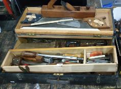 Carpenter's wooden tool chest and contents to include two saws, wooden jack plane, various