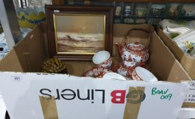 Box of china to include Japanese tea service etc