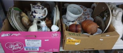 Two boxes of mixed ceramics to include model of a cat, an owl painted plate and an old jelly mould