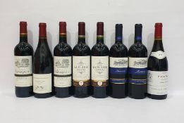Eight bottles of mixed red wineto include Chateau La Plaige Bordeaux 2015 and D'Autrefois Pino Noir
