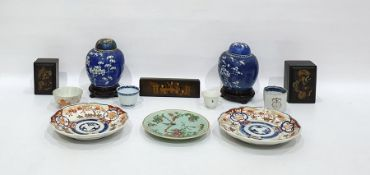 Pair Chinese porcelain ginger jars and covers, two Imari wavy-bordered plates, Chinese Canton