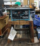 """Clark Woodworker 10"""" table saw on homemade wooden stand"""