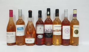 Eight bottles of assorted rose wineto include Paris Street Rose Pinot Noir Romania 2014 and