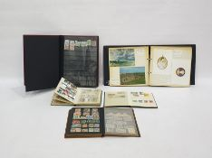 STC radio universal avometer, two postcard albums and a quantity of loose stamps and stamp albums