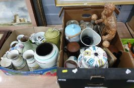 Two boxes of mixed ceramics principally mid-century style including cups, vases, coffee pot and a