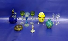 Mottled blue and aqua glass vase, ovoid, 12cm high, set of six pink opaque twist glassliqueurs,
