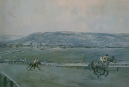 After Lionel Edwards Colour print Coming up the hill, Cheltenham Racecourse, 42 x 52 cms