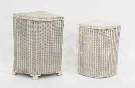 Two white painted Loom corner linen baskets(2)