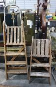 Two wooden decorator's well used step ladders, one is 3-rung with platform height of 76cm and the