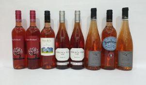 Eight bottles of assorted rose wine to include Domaine de la Colline Rose de Loire and Cherry